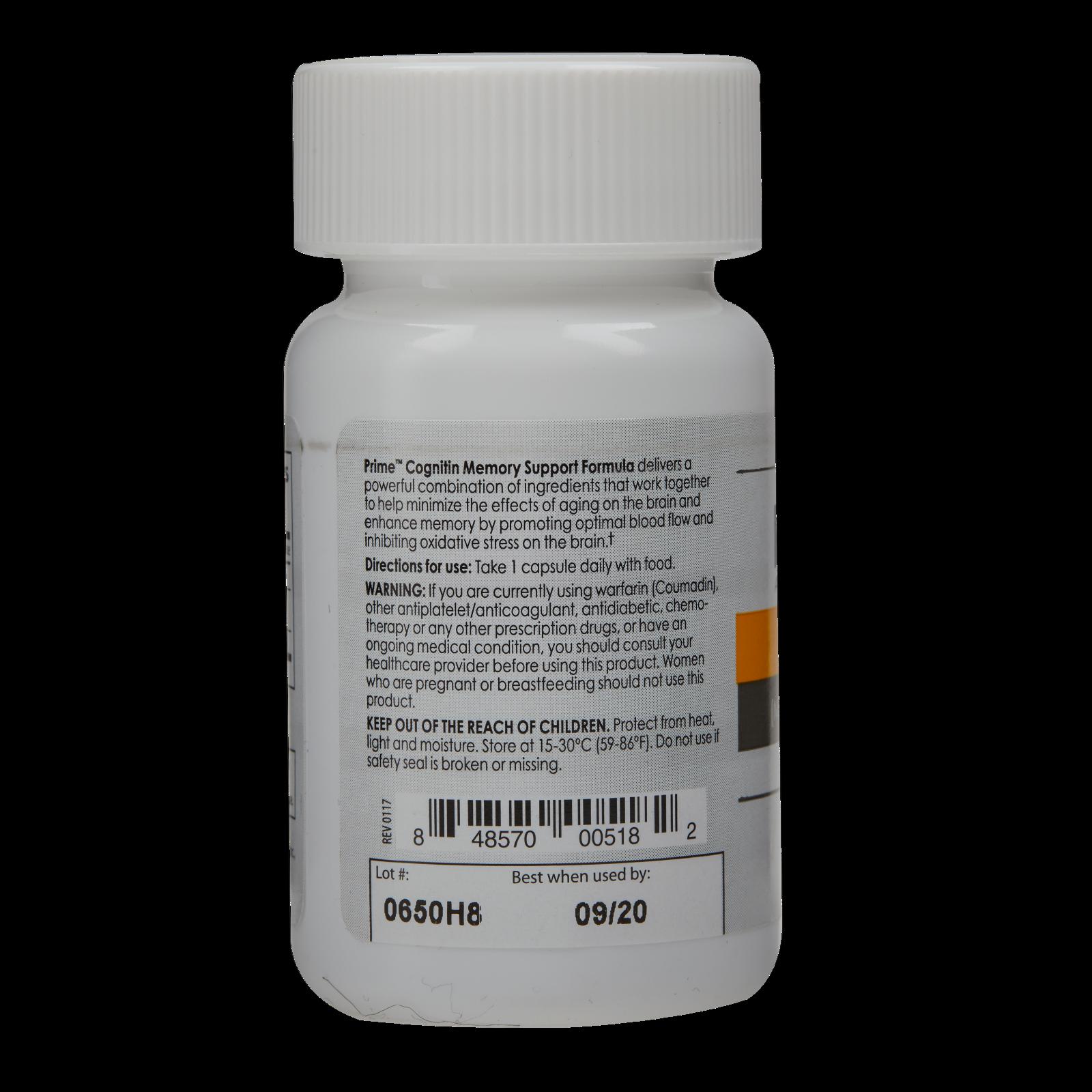 Prime Cognitin Memory Support Formula Single Bottle 30 Capsules 1