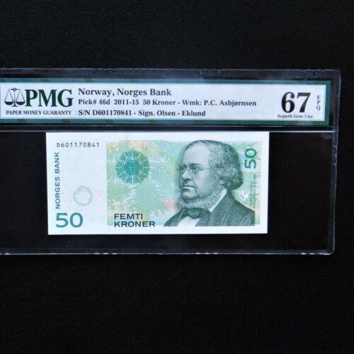 2011-15 Norway 50 Kroner, Pick # 46d, PMG 67 EPQ Superb Gem Unc.