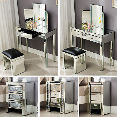 Mirrored Glass Vanity Table Bedside Cabinet Nightstand Stool Mirror W/ Drawer](Mirror Table)