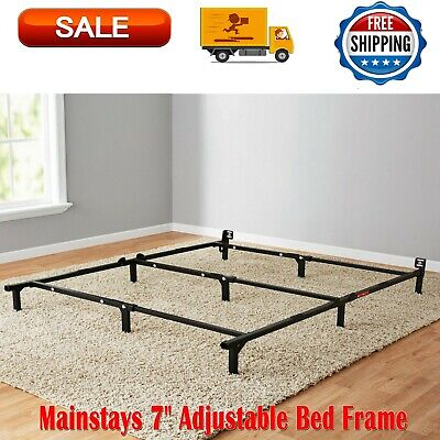 Mainstays 7 Inches Adjustable Bed Frame, Black Steel, Sizes Twin Full Queen