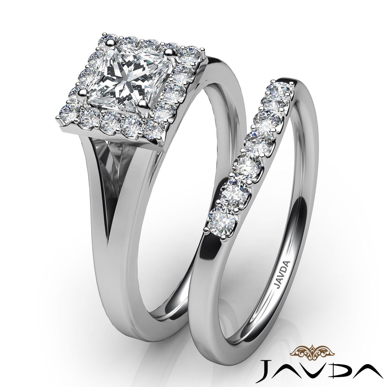 0.93ctw Halo Pave Bridal Princess Diamond Engagement Ring GIA F-VVS1 White Gold 3