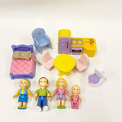 Fisher Price My First Dollhouse Lot Family Dolls Furniture Baby Grandma Mom Dad