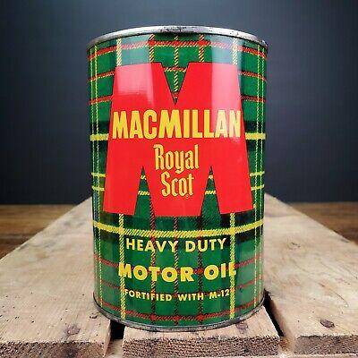Vintage METAL Macmillan Royal Scot Motor Oil Can Quart QT Metal Tin Empty