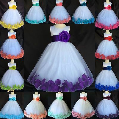 White Tulle Rose Petal Dress Satin Flower Girl Easter Wedding Holiday Summer #24