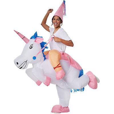 Unisex Kostüm aufblasbar Einhorn Unicorn Aufsitzkostüm BlowUp Fasching (Weißes Einhorn Kostüm)
