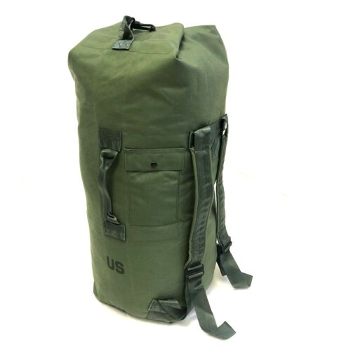 Military Duffle Bag, OD Green Nylon Sea Bag, Carry Straps, Army Luggage USGI