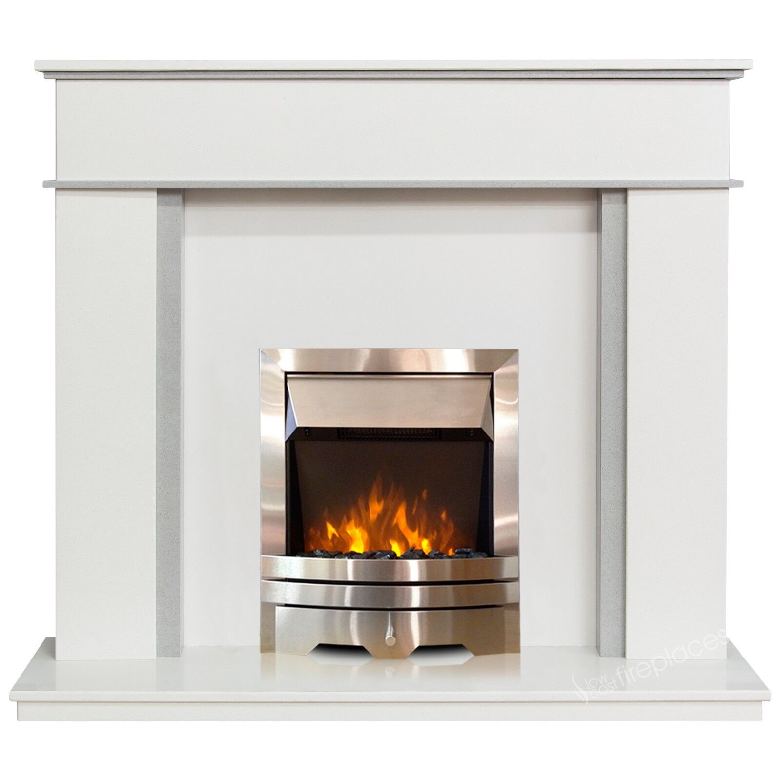 White Grey Marble Surround Modern Silver Electric Fire Fireplace Suite Large 54 Ebay