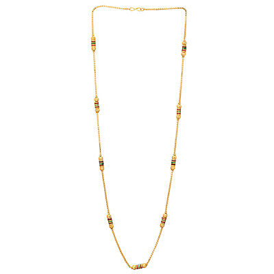 Indian Women Gold Polish Multicolored Design Long Necklace Chain free shipping
