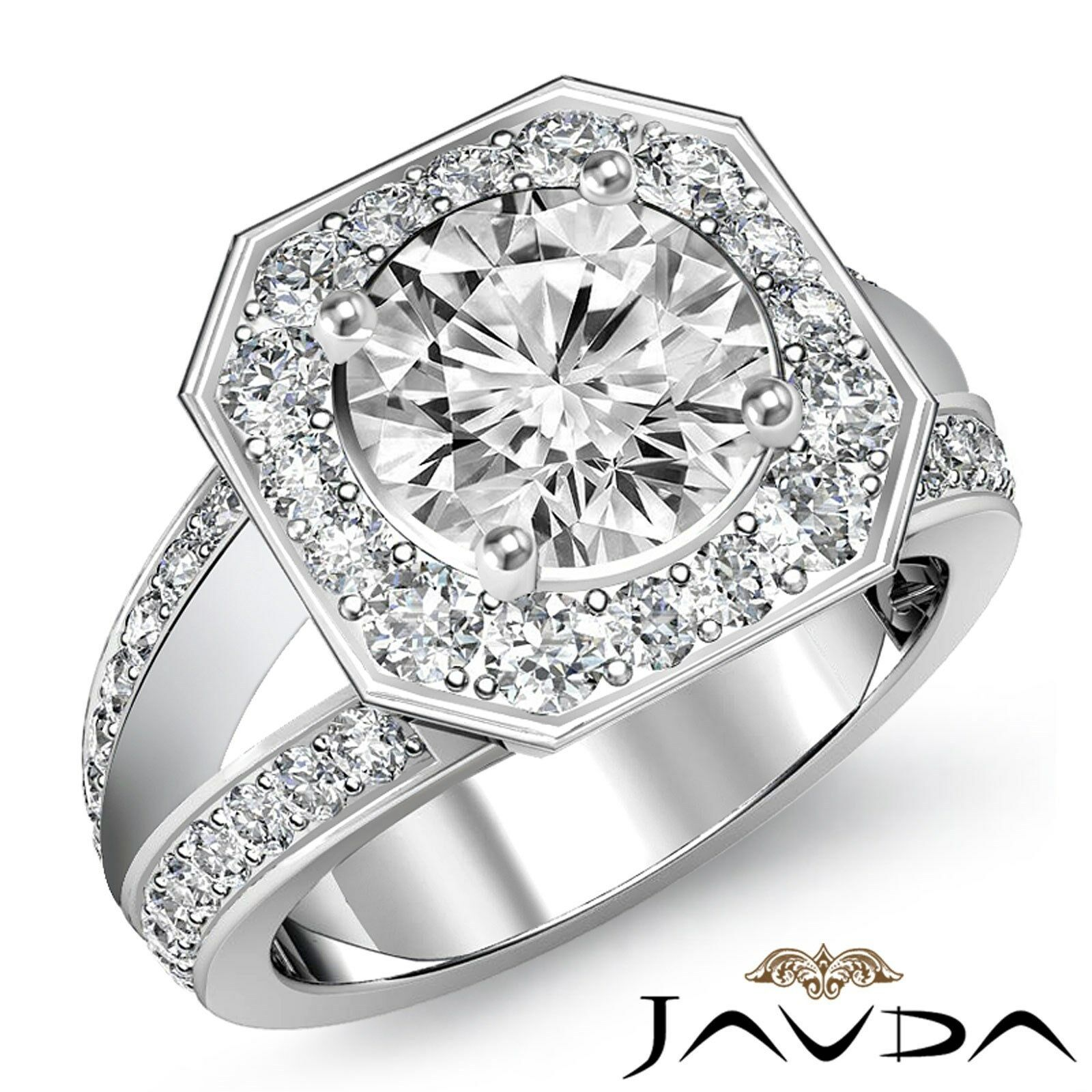 V Shaped Split Shank Round Cut Diamond Engagement Filigree Ring GIA F VS2 2.16Ct