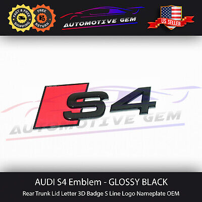Audi S4 Emblem Glossy Black Rear Trunk Lid Letter Badge S Line Logo Nameplate