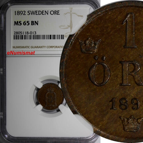 SWEDEN Oscar II Bronze 1892 1 Ore NGC MS65 BN TOP GRADED BY NGC RARE DATE KM#750