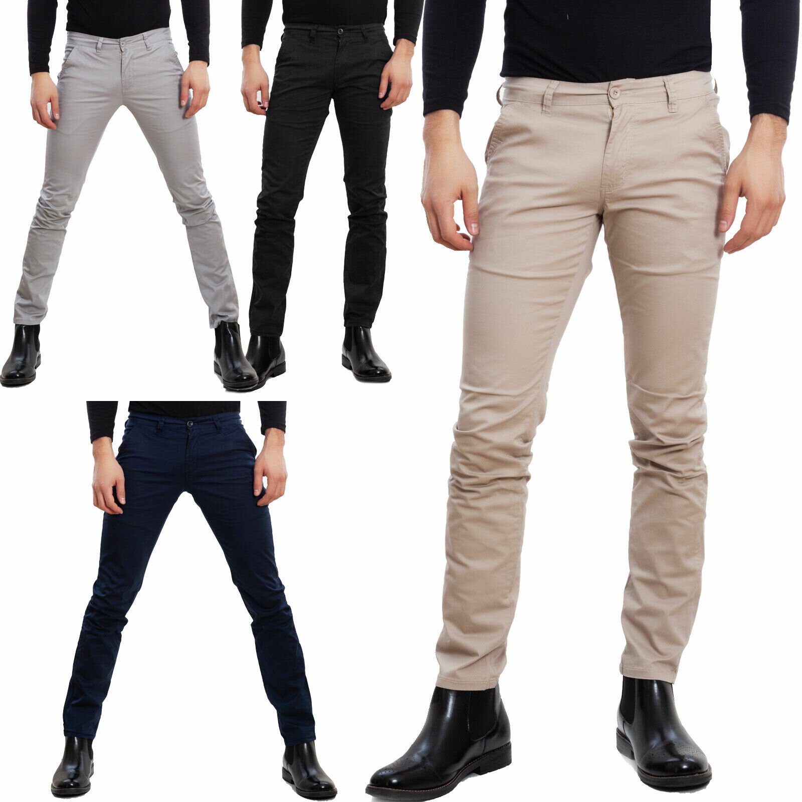 Pantaloni uomo chino cotone casual slim fit basic eleganti regular TOOCOOL E5710
