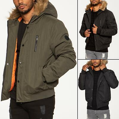 Mens Bomber Jacket Faux Fur Hooded Windproof Padded Coat Winter Warm Outerwear