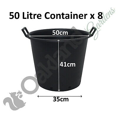 8 x 50 Litre Plant Tree Pot With Handles Heavy Duty 50L Lt Big Large Plastic