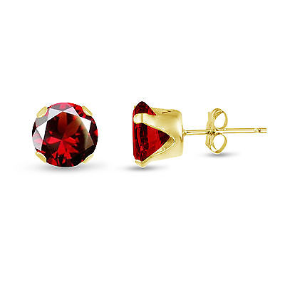 Gold Plated Sterling Silver Stud Earrings Round - Red Garnet