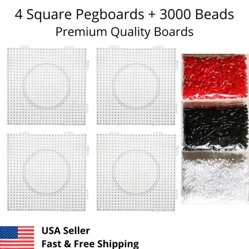 4 Large Square Perler Fuse Beads Peg Boards Pegboards + 3000 Bead kids Craft Set