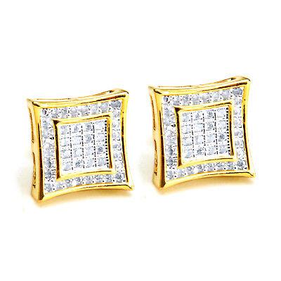 Men's 14K Gold Plated Square Kite 2 Toned Screw Back Stud Earrings BE 002 TT