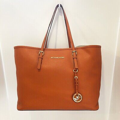 Michael Kors Jet Set Burnt Orange Tote Bag Purse Shoulder Bag Gold Hardware Logo