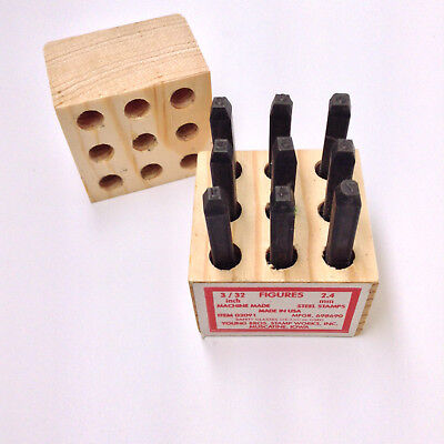 Young Bros Stamp Works 3 32 Inch Steel Set 9 Figure Number Character Made In Usa