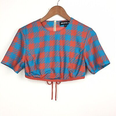House of Holland Crop Top UK8 US4 Red Blue Houndstooth Check Festival Clubbing