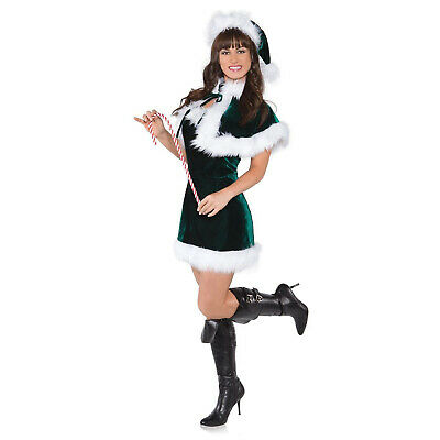 Adult Women's Jingle Elf Girl Christmas Party Costume Green Velvet Dress Capelet