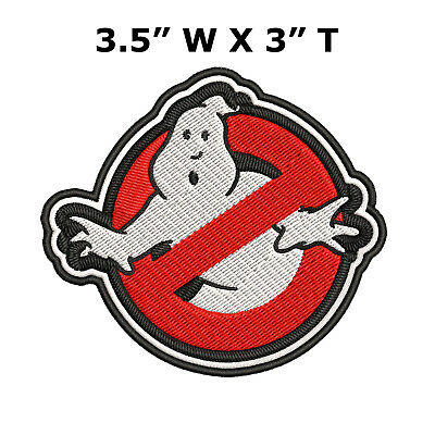 3.5IN GHOSTBUSTERS GHOST Movie Logo BUSTERS IRON-ON Embroidered Applique Patch