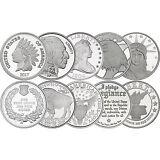 Mixed Designs 1oz .999 Silver Medallion 10pc