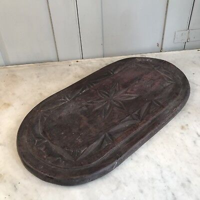Antique large wooden carved oblong dome base stand plateau