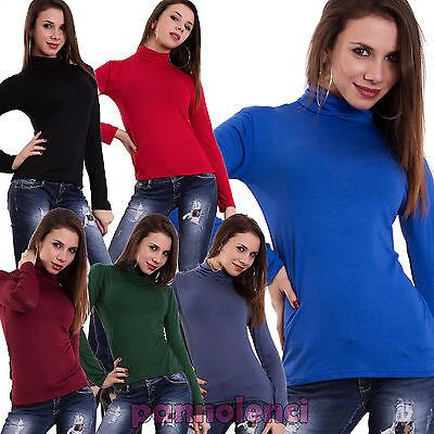 Maglia lupetto manica lunga collo alto jersey viscosa maglietta blusa donna CC26