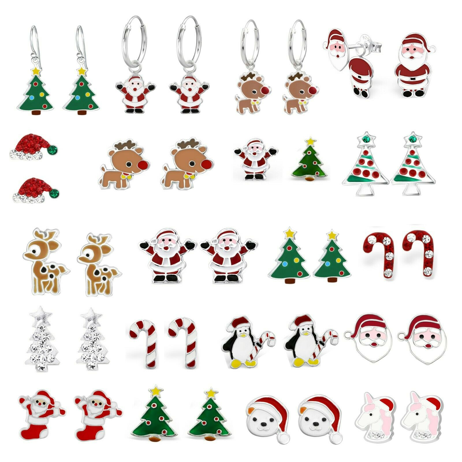Jewellery - 925 Sterling Silver Crystal Christmas Santa Tree Rudolph Reindeer Candy Earrings