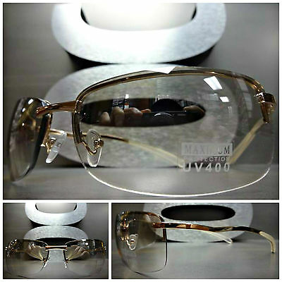 Men's or Women UNIQUE CONTEMPORARY MODERN WRAP Clear Lens EYE GLASSES Gold (Contemporary Glasses Frames)
