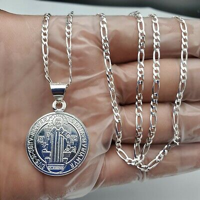 Solid 925 Sterling Silver Transparent Epoxy Prayer Pendant Necklace Charm Chain 18 Width = 17mm