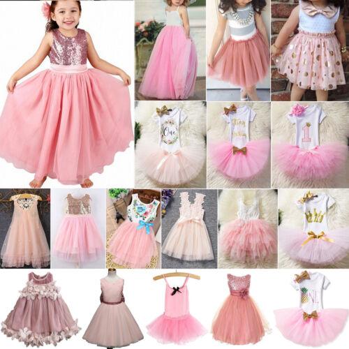 Kinder Mädchen Prinzessin Partykleid Tüll Tutu Kleider Hochzeit Spmmer Festlich