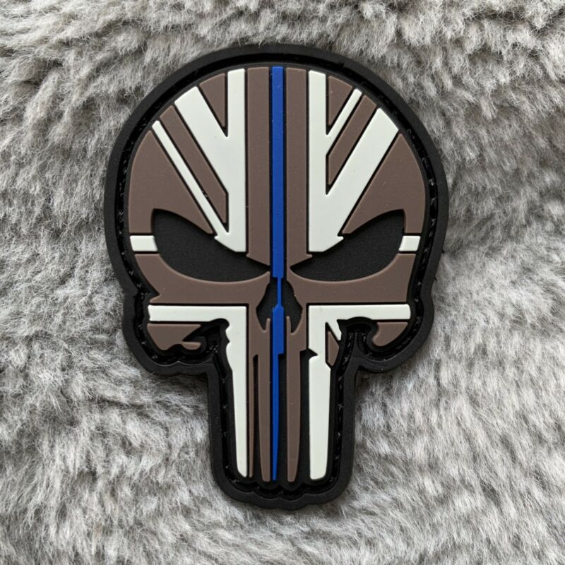 Thin Blue Line Police - Punisher - UK Flag, PVC patch (Hook & Loop back) 60x43mm