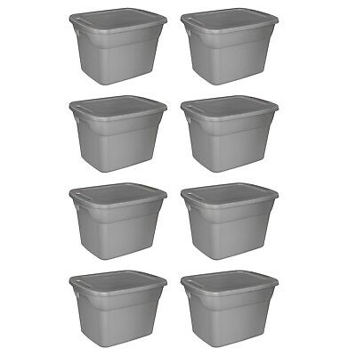 8 PLASTIC STORAGE CONTAINERS 18 Gallon Sterilite Stackable Tote Box Bin With Lid (Stackable Containers)