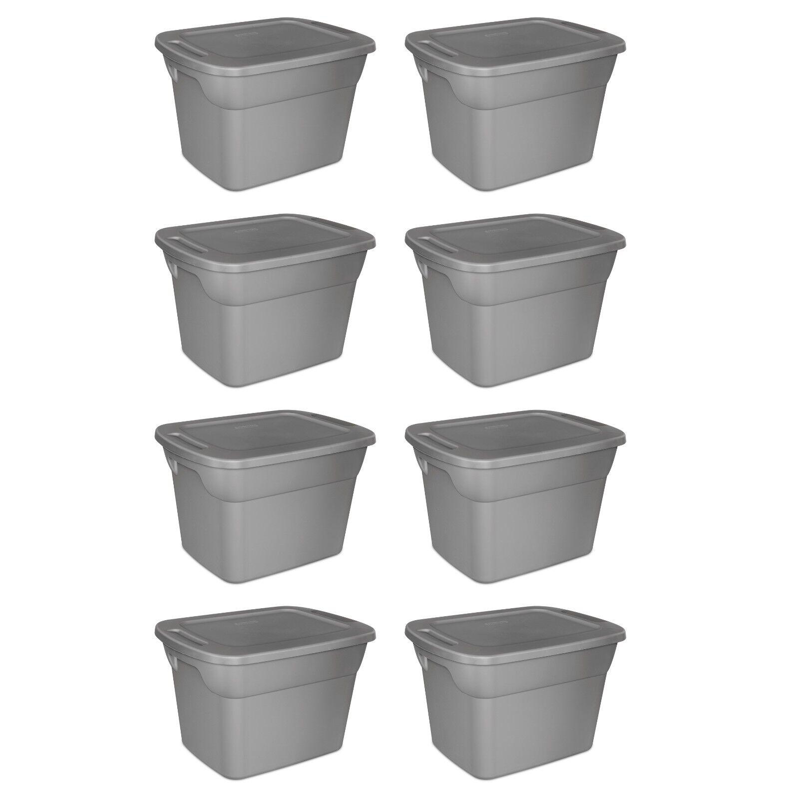 8 Plastic Storage Containers Box Sterilite 18-Gallon Stackab