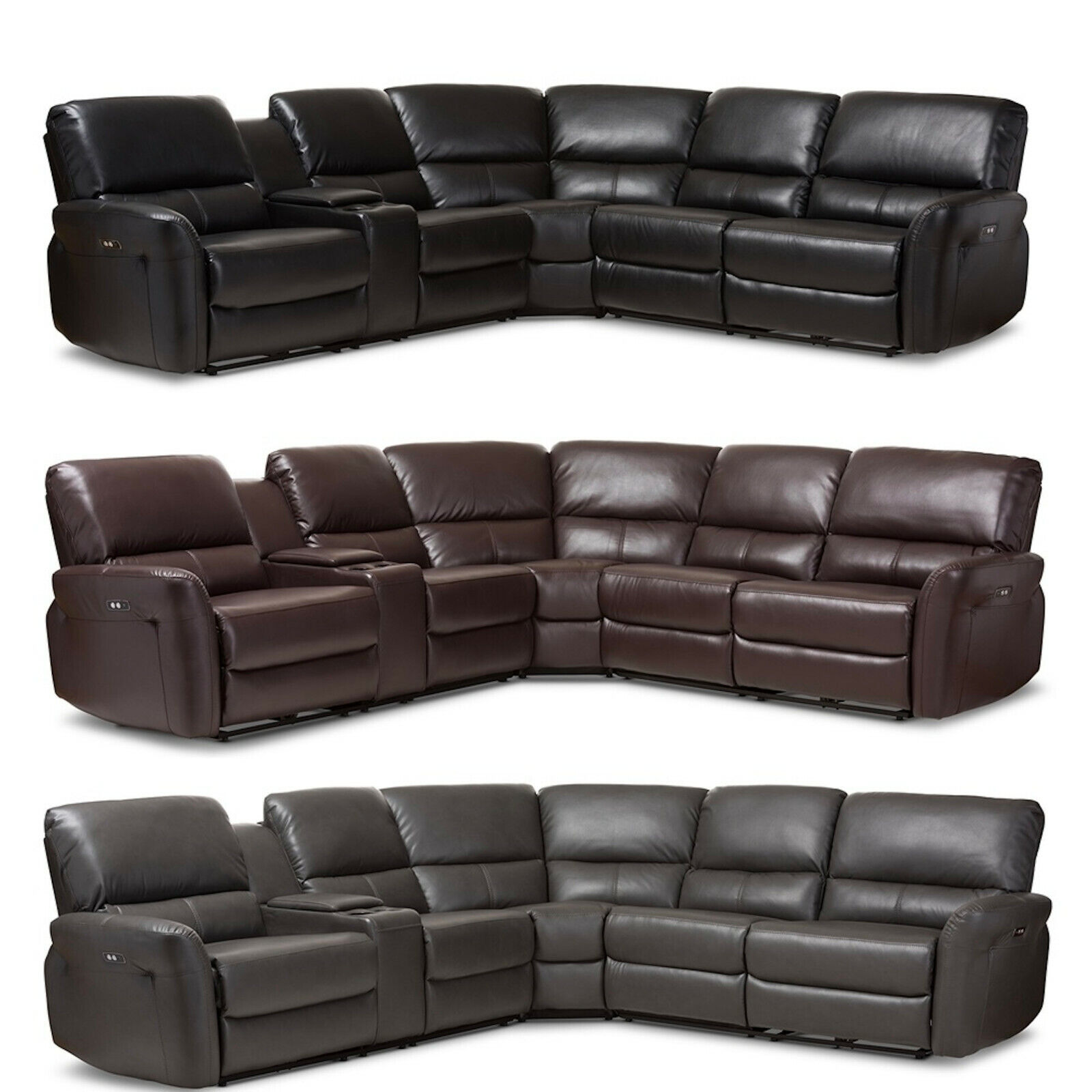 Black Brown Gray Leather* Power Reclining Theater Sectional