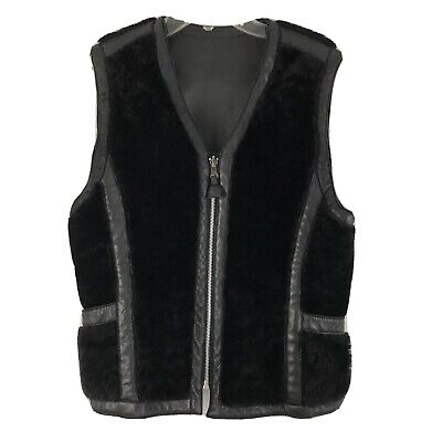 Sylvie Schimmel Paris Womens Vest Black Leather Shearling Reversible Size 6