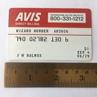 Avis Car Rental Credit Card Advertising 1979 Plastic Vtg Wizard Number