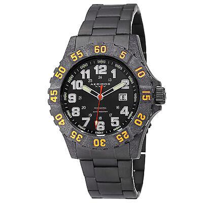 Men's Akribos XXIV AK794OR Quartz Divers Carbon Fiber Case Black Bracelet Watch