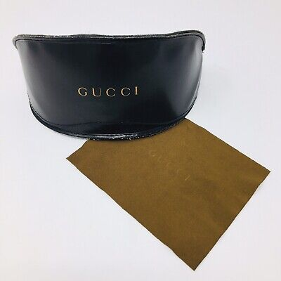 Gucci Large Brown Sunglasses Flip Top Case With Cleaning Cloth
