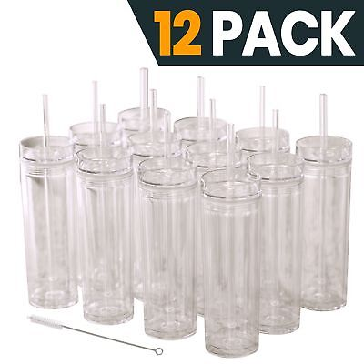 12 Clear Acrylic Tumblers with Lids and Straws | Skinny, 16oz Double Wall Clear - Tumblers With Lids And Straws