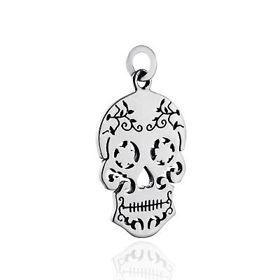 Sugar Skull Charm - 925 Sterling Silver - Cutouts Mexican Day of the Dead NEW