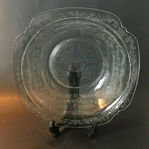 Federal Glass Madrid Pattern Salad Serving Bowl Clear Depression Glass-8-1/4""
