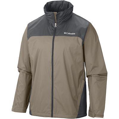 New $60 Columbia mens Raincreek Falls water repellent rain jacket coat Tan Gray