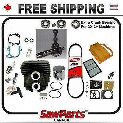 Fits Stihl Ts420 Cylinder Piston Crank H-q Rebuild Kit Nikasil Oem Quality 50mm