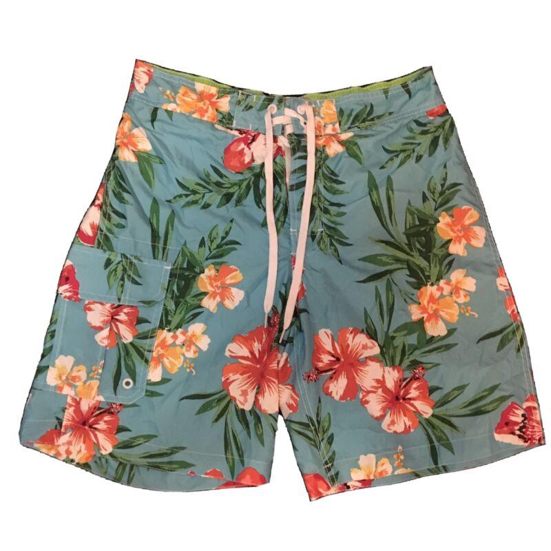 Merona Mens Board Shorts Floral Blue Size 32/24 w/ Pockets Summer Beach Wear