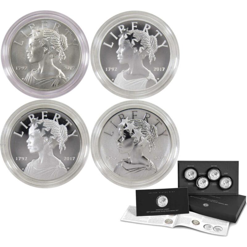 U.S. Mint 2017 American Liberty 225th Anniversary Silver 4pc Medal Set (OGP/COA)
