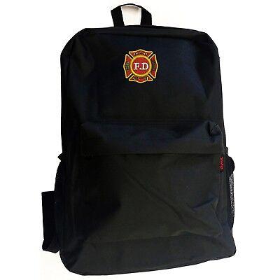 FD FIRE DEPARTMENT FIREFIGHTER Black Backpack Bag Hipster  - Firefighter Backpack