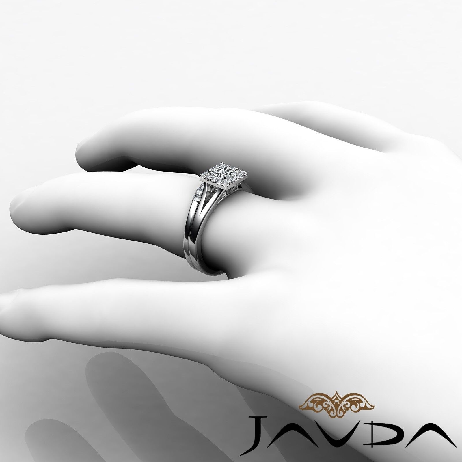 0.93ctw Halo Pave Bridal Princess Diamond Engagement Ring GIA F-VVS1 White Gold 5